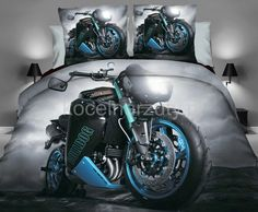 Pościel szara z mikrowłókna z nowoczesnym motocyklem