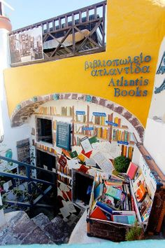Atlantis Bookshop in Oia, Santorini Santorini Island, Santorini Greece, Atlantis, The Places Youll Go, Places To Go, Mystery, Book Cafe, Top Destinations, Greek Islands