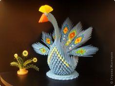 Поделка, изделие Оригами модульное: Жар-птица Бумага