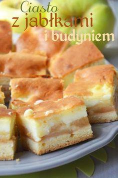 Ciasto z jabłkami i budyniem is part of Cooking recipes - Pear Recipes, Apple Cake Recipes, Baking Recipes, Cookie Recipes, Dessert Recipes, Polish Desserts, Polish Recipes, Easy Apple Cake, Different Cakes