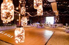 Dance floor through the mason jar fairy lights