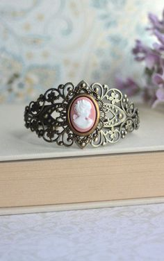 Peach Cameo Vintage Inspired Adjustable Cuff Bracelet.