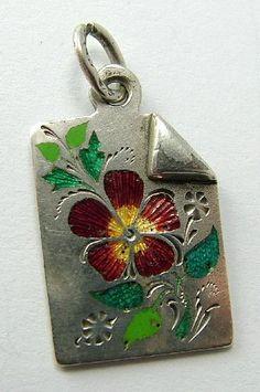 Victorian Russian Silver & Enamel Calling Card Charm http://www.sandysvintagecharms.co.uk/Default.asp