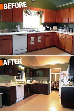 A new coat of paint can transform your kitchen cabinets with very little expense. This impressive before-and-after included a Rustoleum Cabinet Transformation Kit! #kitchen by angelina