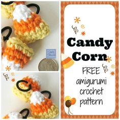 DIY with this adorable design for Candy Corn Amigurumi Hair Ties! It's a Free crochet pattern and tutorial by SimplyCollectibleCrochet.com