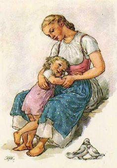 Maria Fischerova-Kvechova, 1892-1984 Vintage Postcards, Vintage Images, Vintage Art, Vintage Nursery, Human Anatomy Drawing, Nostalgic Art, Mother Art, Maya Angelou, Children's Book Illustration