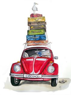 Waiting For The Ferry , ferry waiting is part of Vw art - Vintage Clipart, Illustrations, Illustration Art, Retro, Art Et Design, Beetle Car, Red Beetle, Picasso, Watercolor Art