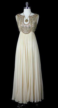 Vintage 50s 60s Mid Century Glamour Goddess Silk Chiffon ...