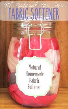 Natural homemade fabric softener ingredients 2 c. White vinegar 2 c. Water 1/8 c. Vegetable glycerin 10-20 drops Essential Oils (optional) Mix together in glass jar. Can pour directly into softener dispenser or add 100% cotton flannel rags to soak up liquid, then add 1 or 2 to laundry in dryer.