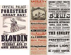 Em 1830 utilizava-se um leque bastante grande nos tipos de letras, desde Sans Serif, Serif, Inline, Outline, com padrões, em itálico, tendo sido uma época que proporcionou muitos tipos de letras para posters.