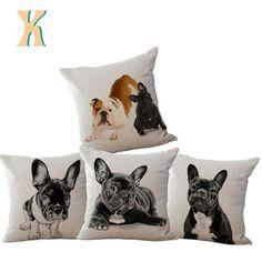 Adorable French Bulldog Dog Throw Pillow Cushion Cover