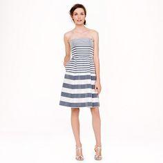 Stripes for bridesmaide dresses?  Strapless stripe silk dupioni dress