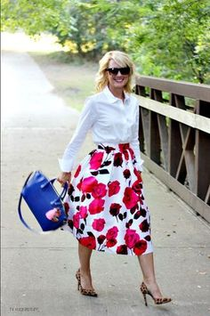 {Five Ways} Floral Midi Skirts