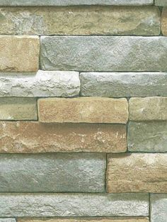 3-D Rectangular Stacked Stone with Grey Wallpaper SR026208 / BC1581943