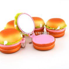 NEW 6CM Cute Squishy Yummy Hamburger Make Up Mirror Cellphone Straps Cute Key…