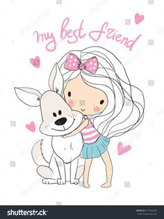Find Cute Girl Dog stock images in HD and millions of other royalty-free stock photos, illustrations and vectors in the Shutterstock collection. Cartoon Girl Images, Girl Cartoon, Drawing For Kids, Art For Kids, Cute Cartoon Characters, Boy Illustration, Adult Coloring Book Pages, Cartoon Sketches, Girl And Dog