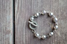 Antiqued Silver Acorn Toggle Bracelet by skyeshouse on Etsy