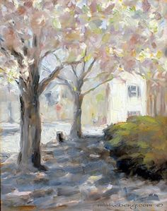 "dogwood days in old Washington , Kentucky by Margie Lakeberg Oil ~ 14"" x 11"""