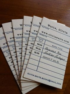 Library-inspired business cards for Olivia Waite, designed by Boxcar Press.