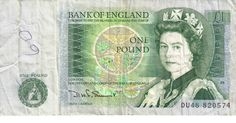 British One Pound Note, in use prior to change to One Pound coins in 1983.