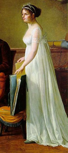 regency portrait, 1801. white dress with gathered bodice, sheer lace sleves, and two small tucks above the hem. by gay