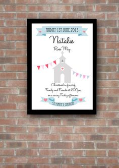 Personalised Christening Print by RubyTuesdayDesign on Etsy, £5.00
