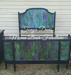 Beautiful re finish French Provencial Bed . Beautiful veneer has had its wood grain highlighted with unicorn spit in multi colors . Who needs paint to hide that beautiful wood when you can have unicorn spit to liven Best Murphy Bed, Murphy Bed Plans, Colorful Furniture, Painted Furniture, Painting Frames, Diy Painting, Wilding Wallbeds, Bears Furniture, Unicorn Spit Stain