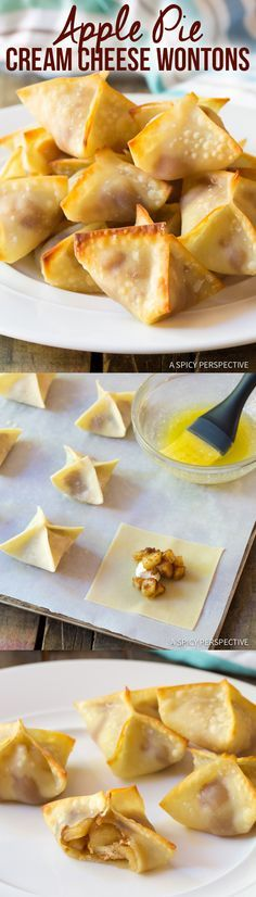 Easy Apple Pie Cream Cheese Wontons - Mini pies with a twist! These little apple pies are fun to make and even more fun to eat. Köstliche Desserts, Delicious Desserts, Dessert Recipes, Yummy Food, Fall Recipes, Sweet Recipes, Cream Cheese Wontons, Wonton Recipes, Snacks