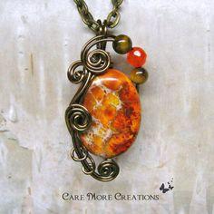 Orange Impression Jasper Wire Wrapped Pendant Necklace by CareMoreCreations.com, $25.00