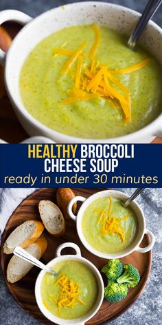 This broccoli cheese soup is creamy, cheesy, and on the healthier side! Thickened with a potato, it does not contain heavy cream and is packed with healthy vegetables. #sweetpeasandsaffron #soup #glutenfree #vegetarian #lunch #mealprep