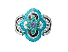 Van Cleef & Arpels Pierres de Caractère Newet bracelet in white gold, with diamonds, turquoise, onyx, pear-shaped green tourmalines and two cushion-cut purple Madagascan sapphires of 2.83ct and 4.26ct