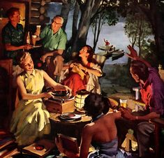 """When everyone feels like relaxing, what makes a glass of beer taste so good? U.S. Brewers Foundation, 1955   """"Friends From Across the Lake"""" by Haddon Sundblom"""
