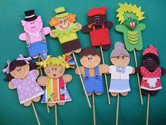 Meus Trabalhinhos : Fantoches E.V.A. Kids Crafts, Foam Crafts, Craft Activities For Kids, Toddler Activities, Learning Activities, Diy And Crafts, Puppets For Kids, Hand Puppets, Finger Puppets