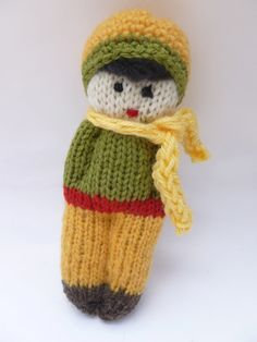 Hand knit wool doll Waldorf inspired by greenmountain on Etsy