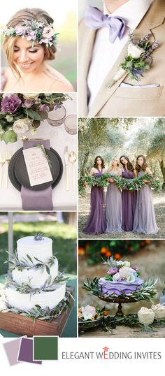 romantic lilac gray wedding color ideas