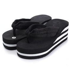 Summer Stripe Platform Flip Flops Clip Top Outdoor Beach Slippers