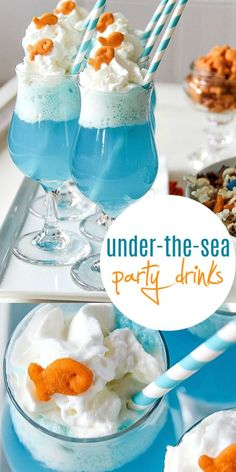 This under-the-sea themed mocktail float is perfect for parties and movie nights at home. Yummy Snacks, Yummy Drinks, Yummy Treats, Delicious Desserts, Mocktail Drinks, Movie Night Snacks, Movie Nights, Ice Cream Movie, Blue Party Foods