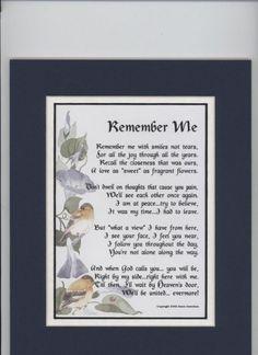 memorial poems for loved ones   An Inspirational Memorial ...