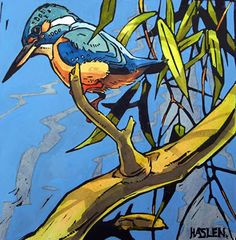 Kingfisher Looking Left by Andrew Haslen £150. View more of Andrew's paintings in the WLT gallery