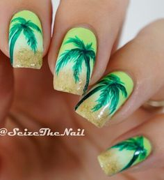 A fresh looking Palm Tree Nail Art design. The palm trees are painted in bright green polish as the background is in clouded yellow theme. It looks absolutely delightful. Beach Nail Art, Beach Nail Designs, Beach Nails, Toe Nail Designs, Cute Nails, Pretty Nails, My Nails, Jamaica Nails, Palm Tree Nail Art