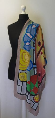 Natural silk shawl. Hand painted silk. The motives of the genius Austrian artist-philosopher F. Hundertwasser, in the original color scheme. Fragment of the painting Il cappello di Roma Made from crepe de chine Size 180 cm * 60 cm