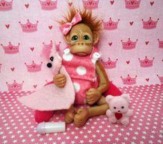 OOAK Baby Orangutan Monkey Poseable SBD Miniature Polymer Clay | eBay