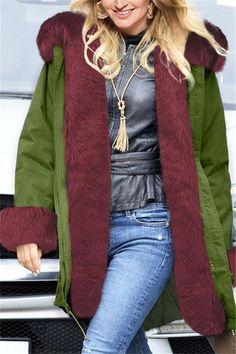 cc112c7ea193a Fashion Autumn Winter Even Cap Warm Long Long Fur Collar Cotton-Jacket   Joygos