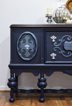 Painted Navy Blue Buffet with Modern Masters Metallic Paints | The Wood Spa