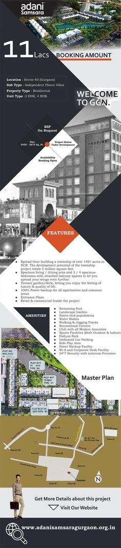 Adani Samsara a residential project from Adani Realty on Golf Course Extension Road, Sector 60 Gurgaon, offering 3 & 4 BHK Villas Floors, that are child friendly with world class specifications, facilities and lots of greenery at very reasonable price points.