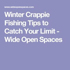 Winter Crappie Fishing Tips to Catch Your Limit - Wide Open Spaces Crappie Jigs, Crappie Fishing Tips, Fishing Knots, Fishing Guide, Fishing Bait, Ice Fishing, Best Fishing, Trout Fishing, Saltwater Fishing
