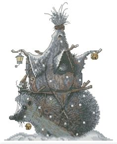 Cross Stitch Chart Goblin Hedgehog house Fantasy Series by Lena Lawson Needlearts - Art of Jean-Baptiste Monge Hedgehog Cross Stitch, Cross Stitch Art, Cross Stitching, Cross Stitch Embroidery, Cross Stitch Patterns, Hedgehog House, Elves And Fairies, Cute Dragons, Fantasy Artwork