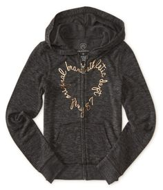 """Pull on our Original Brand Heart Zip-Front Hoodie and get ready for the best part of the weekend: Saturday morning cartoons! Highlighted by silky fabric, it offers a wonderfully luxurious feel, while foil script delivers a splash of shine. Don't forget to grab our matching joggers, too!<br><br>Relaxed fit. No drawstring. Approx. length (10): 20""""<br><br>Style: 3298. Imported.<br><br>71% rayon, 25% polyester, 4% spandex.<br>Machine wash/dry."""