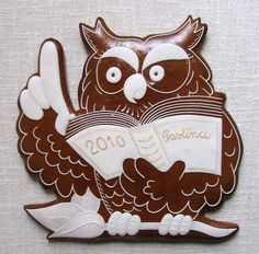 sova k promoci v bílém Fancy Cookies, Vintage Cookies, Sugar Cookie Frosting, New Tricks, Biscotti, Cookie Decorating, Christmas Cookies, Gingerbread, Food And Drink