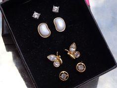 LOT VINTAGE? Designer SGD AVON Crystal Rhinestone Earrings Butterfly Stud MOP?